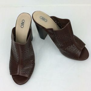 """Cato punched design brown mule slip ons- 4.5"""" heel"""